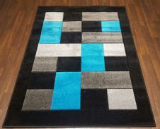 Modern New Rugs Approx 5x2ft6 80x150cm Woven best quality ,Blocks Black/teal